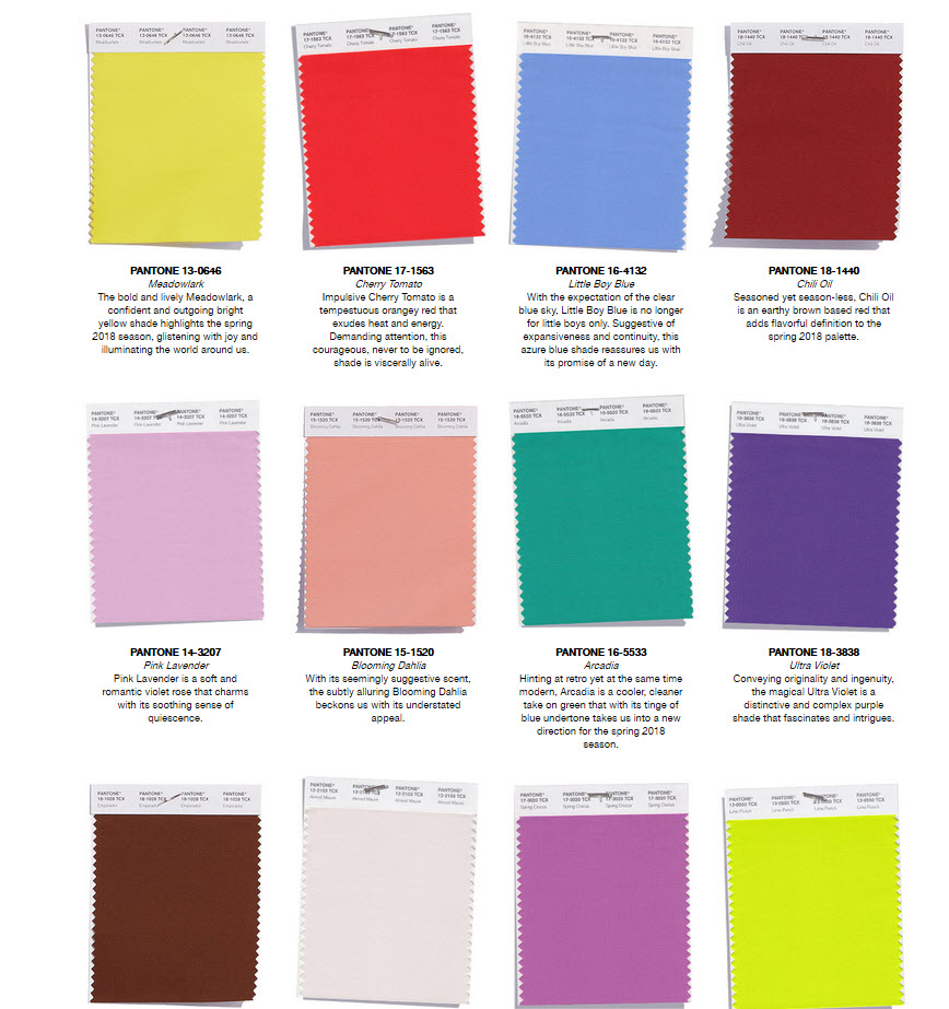 Pantone Spring Colors 2018